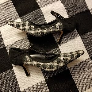 Black and white buffalo check heel with strap